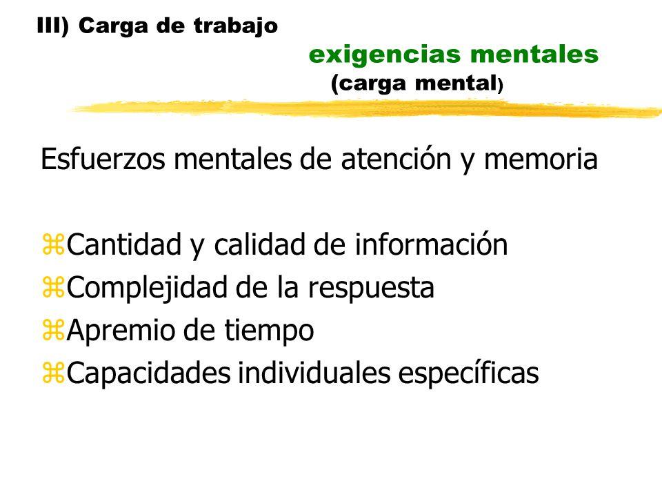 III) Carga de trabajo exigencias mentales (carga mental)