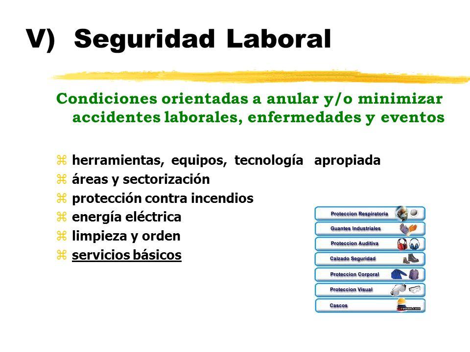 V) Seguridad Laboral Condiciones orientadas a anular y/o minimizar accidentes laborales, enfermedades y eventos.