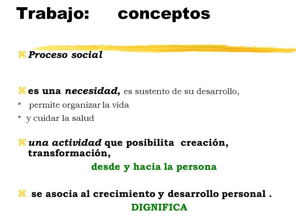 Trabajo: conceptos Proceso social