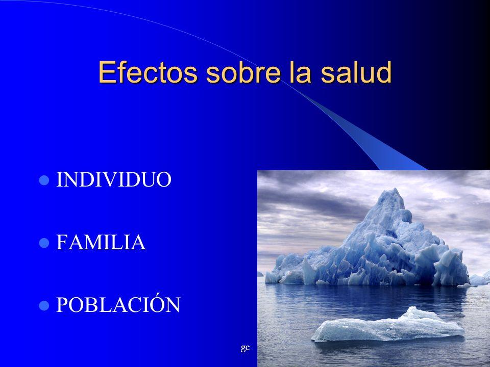 Efectos sobre la salud INDIVIDUO FAMILIA POBLACIÓN gc