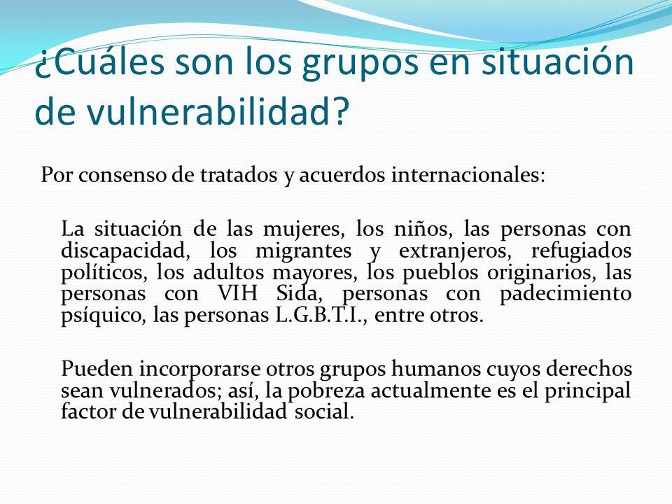 ¿Cuáles son los grupos en situación de vulnerabilidad