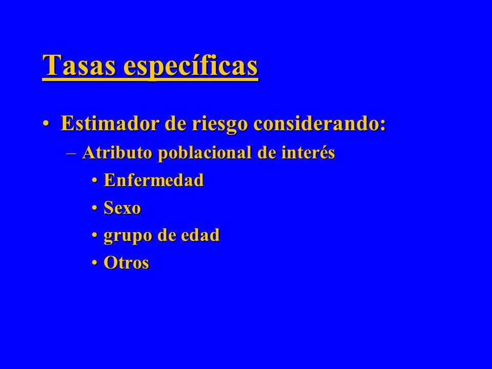 Tasas específicas Estimador de riesgo considerando: