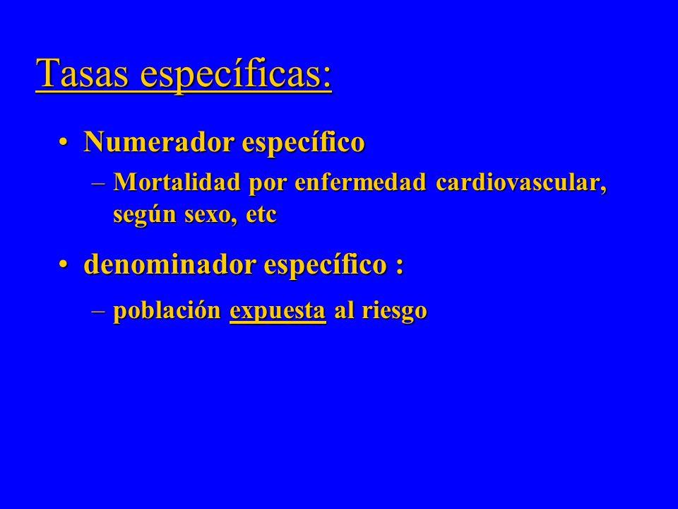 Tasas específicas: Numerador específico denominador específico :
