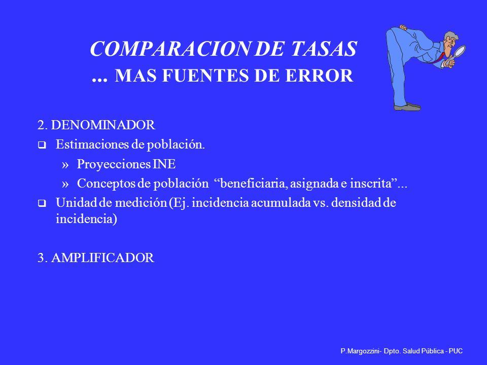 COMPARACION DE TASAS ... MAS FUENTES DE ERROR