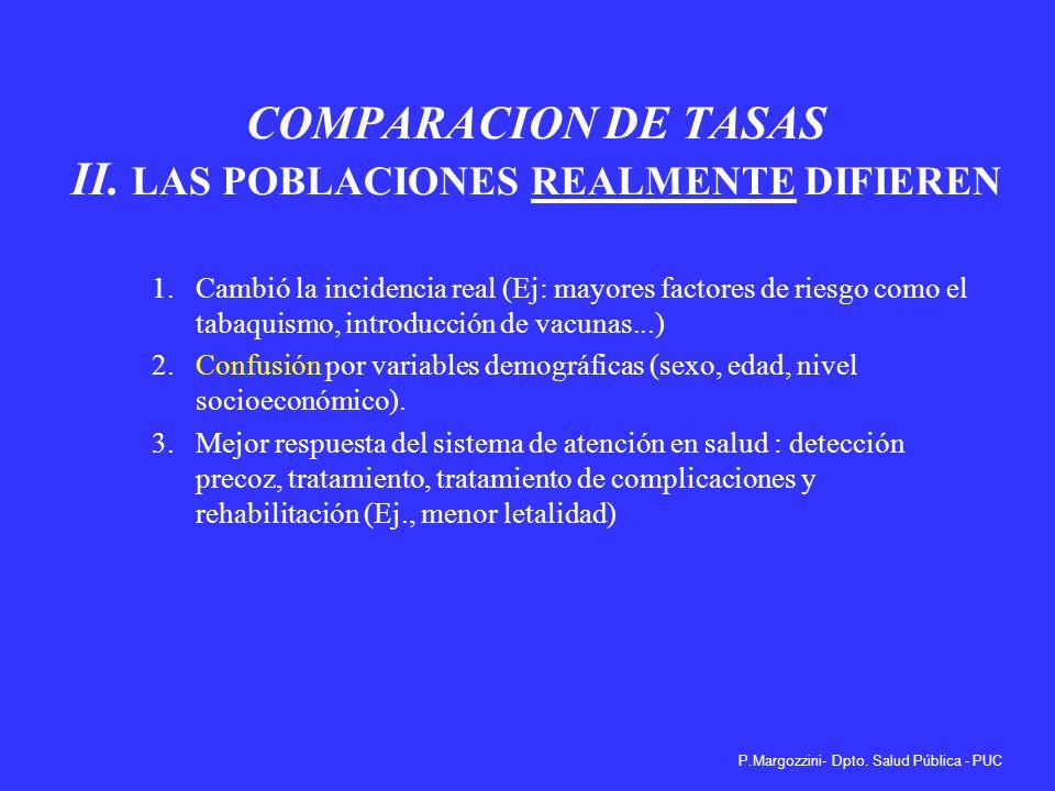 COMPARACION DE TASAS II. LAS POBLACIONES REALMENTE DIFIEREN