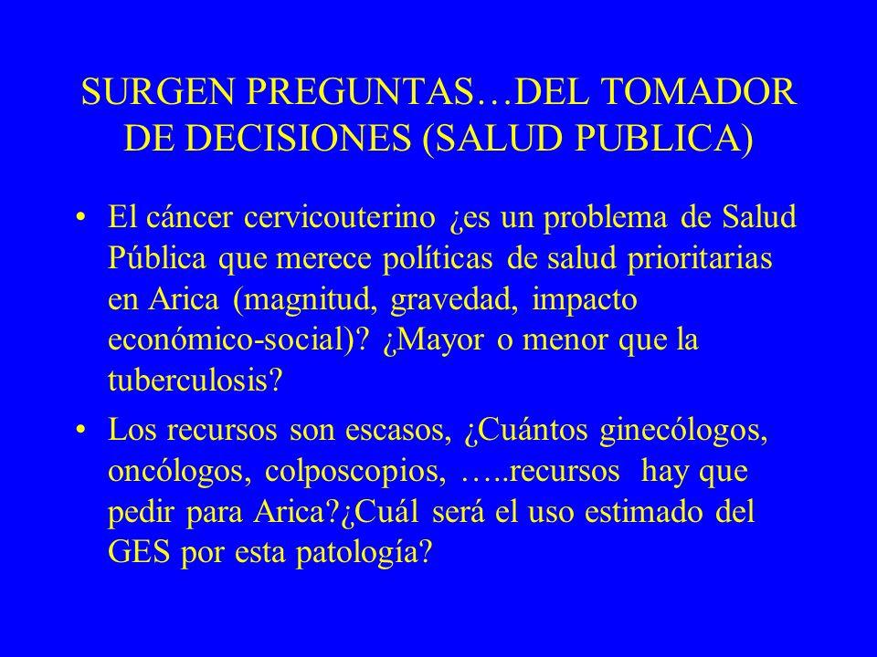 SURGEN PREGUNTAS…DEL TOMADOR DE DECISIONES (SALUD PUBLICA)