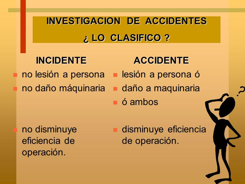 INVESTIGACION DE ACCIDENTES ¿ LO CLASIFICO