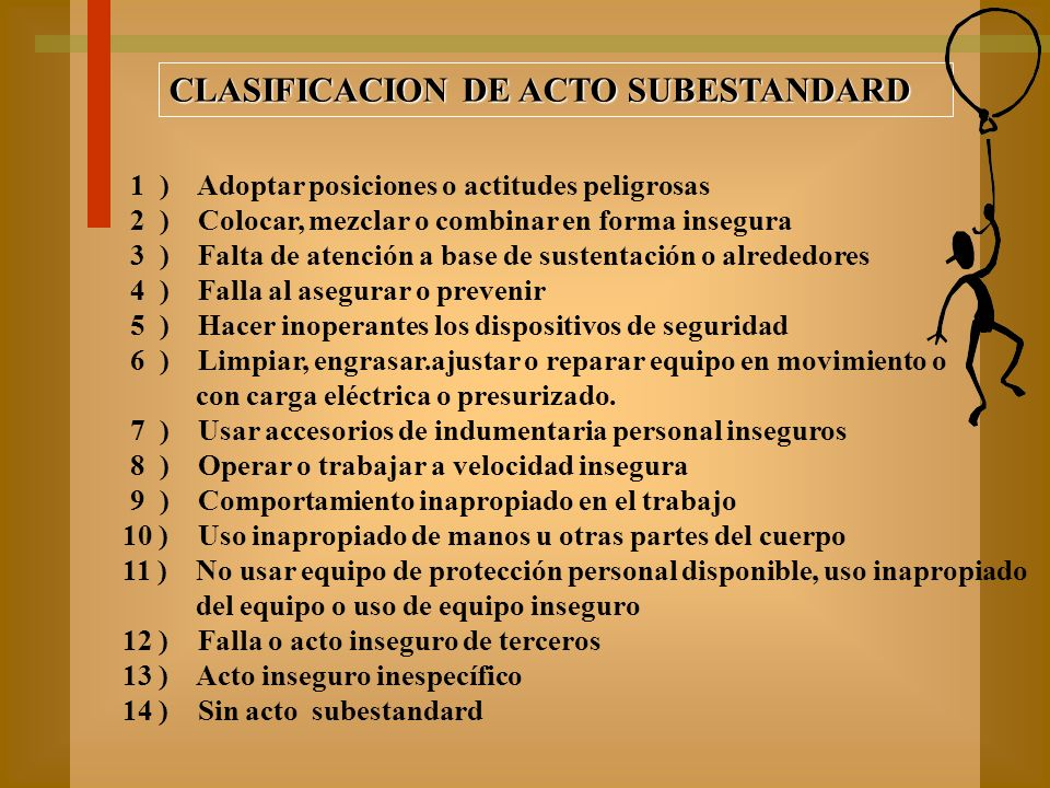 CLASIFICACION DE ACTO SUBESTANDARD