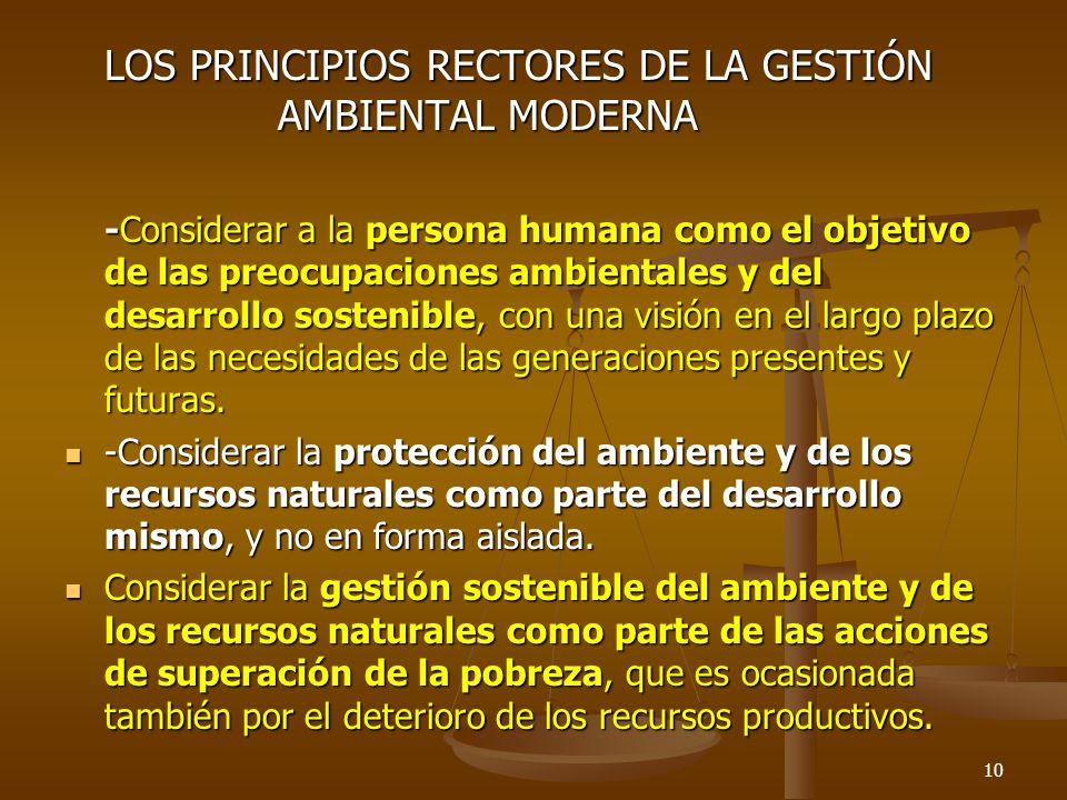 LOS PRINCIPIOS RECTORES DE LA GESTIÓN AMBIENTAL MODERNA