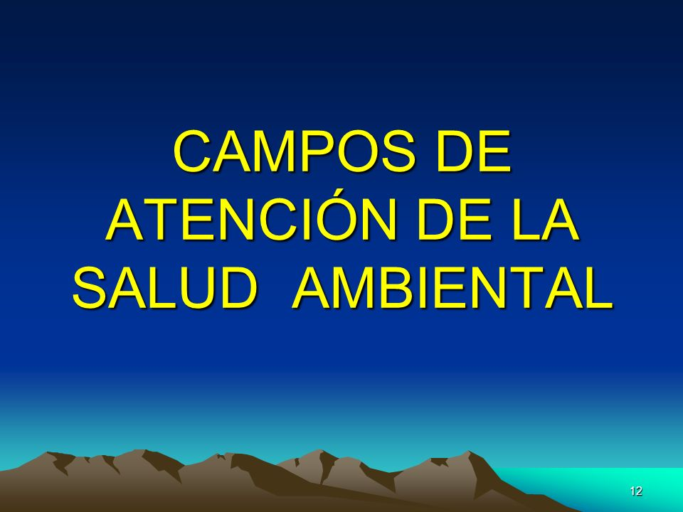CAMPOS DE ATENCIÓN DE LA SALUD AMBIENTAL