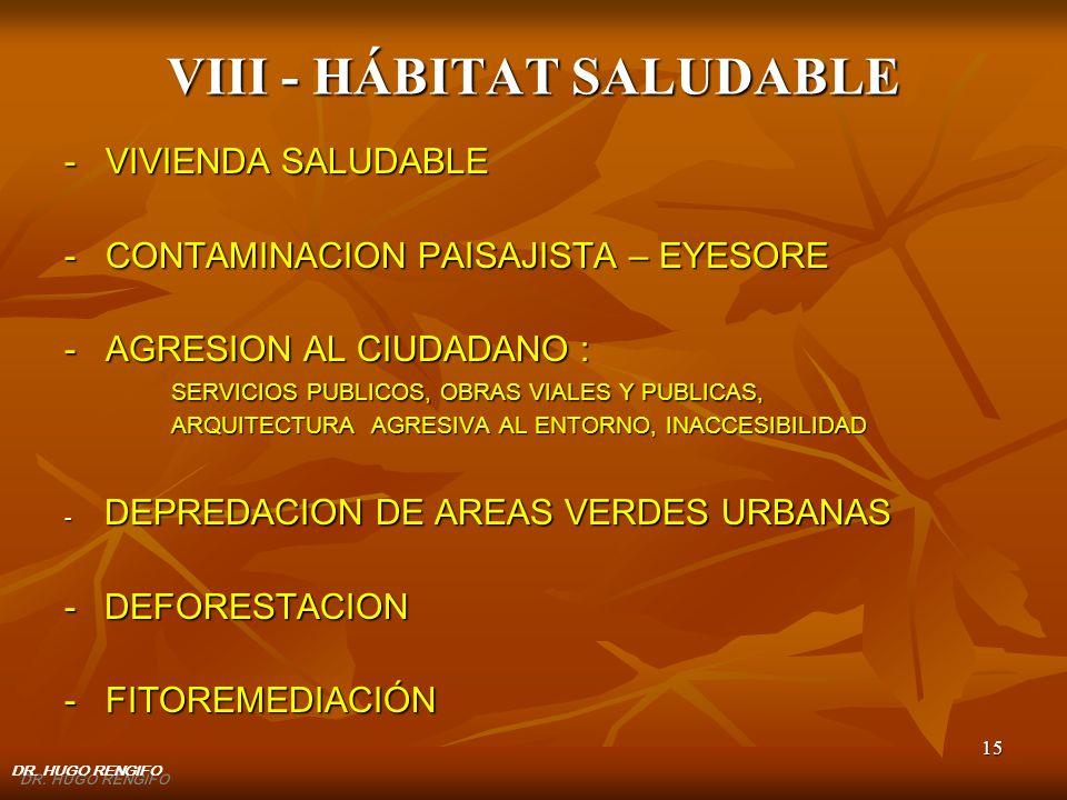 VIII - HÁBITAT SALUDABLE