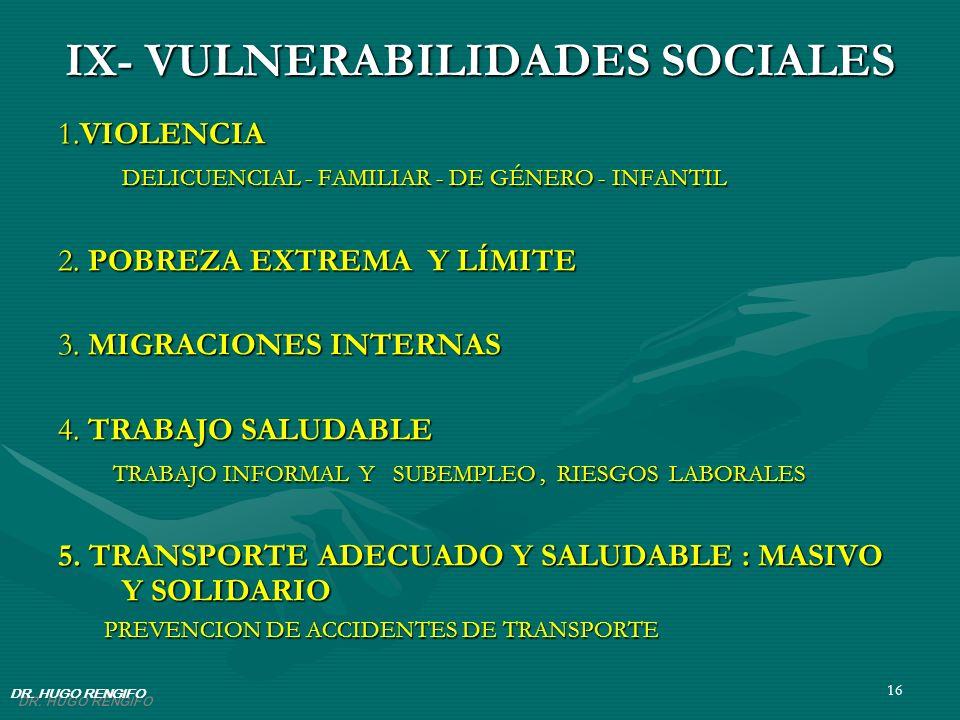 IX- VULNERABILIDADES SOCIALES