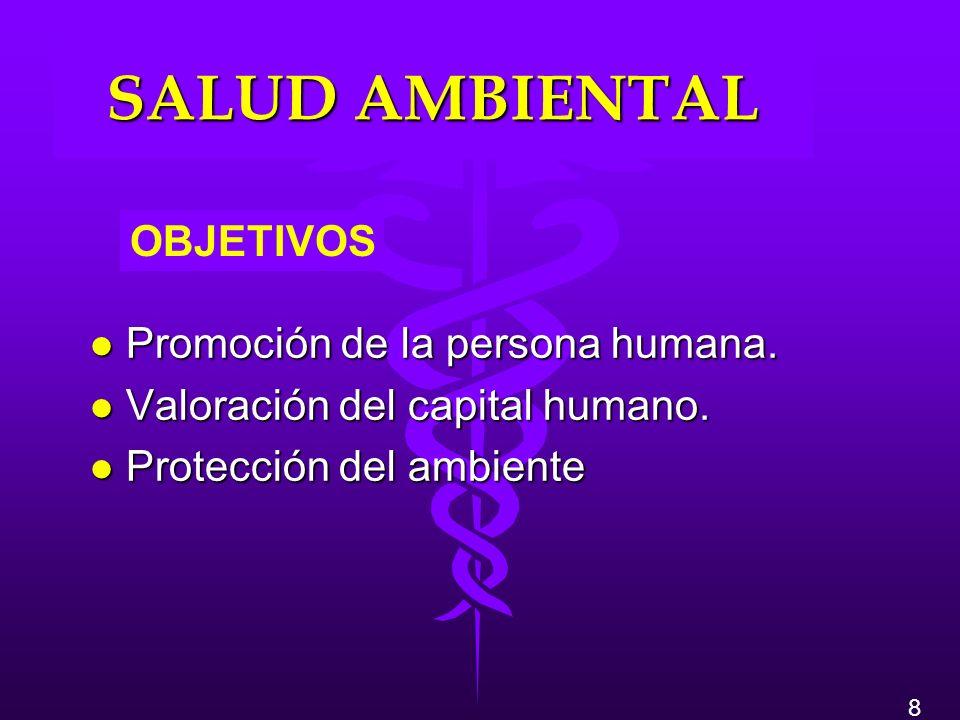 SALUD AMBIENTAL OBJETIVOS Promoción de la persona humana.