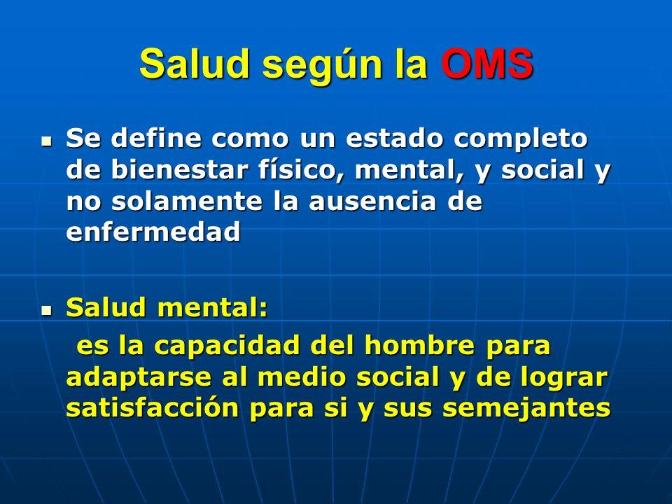 Salud según la OMS Se define como un estado completo de bienestar físico, mental, y social y no solamente la ausencia de enfermedad.