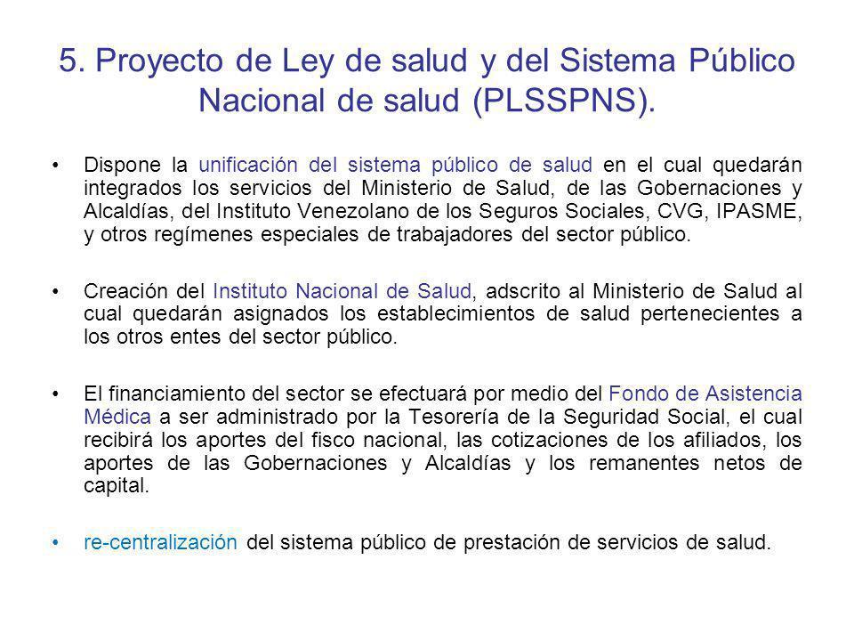 5. Proyecto de Ley de salud y del Sistema Público Nacional de salud (PLSSPNS).