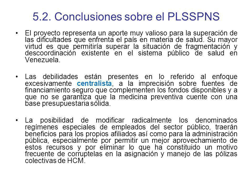 5.2. Conclusiones sobre el PLSSPNS