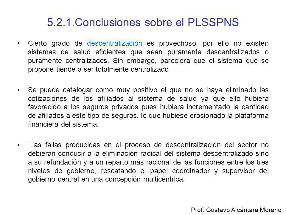 5.2.1.Conclusiones sobre el PLSSPNS