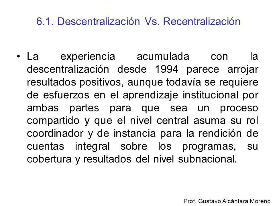 6.1. Descentralización Vs. Recentralización