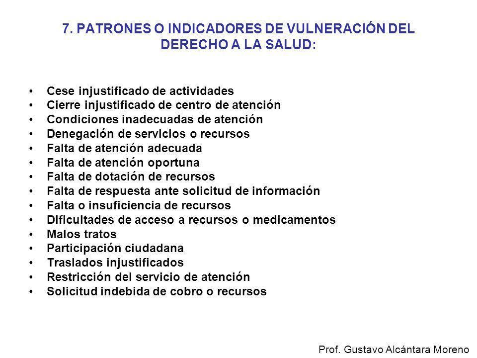 7. PATRONES O INDICADORES DE VULNERACIÓN DEL DERECHO A LA SALUD: