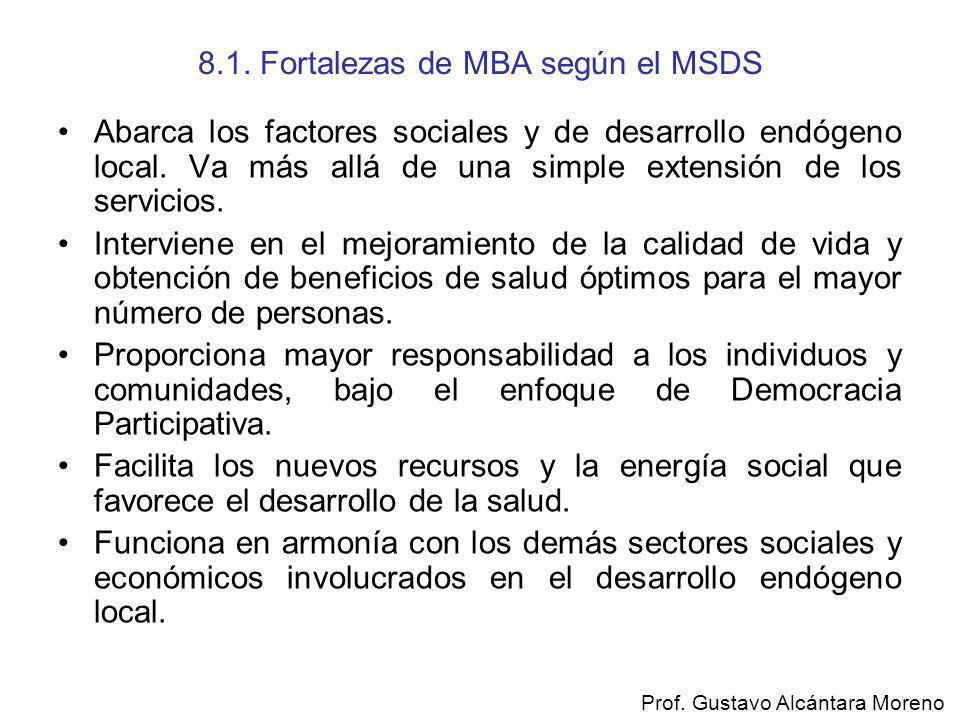 8.1. Fortalezas de MBA según el MSDS