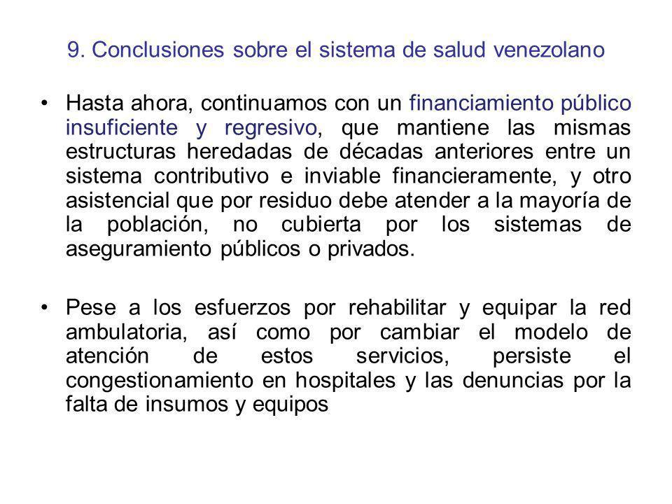 9. Conclusiones sobre el sistema de salud venezolano