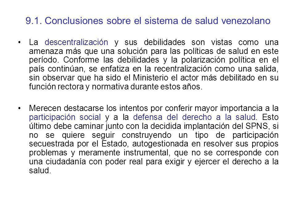9.1. Conclusiones sobre el sistema de salud venezolano