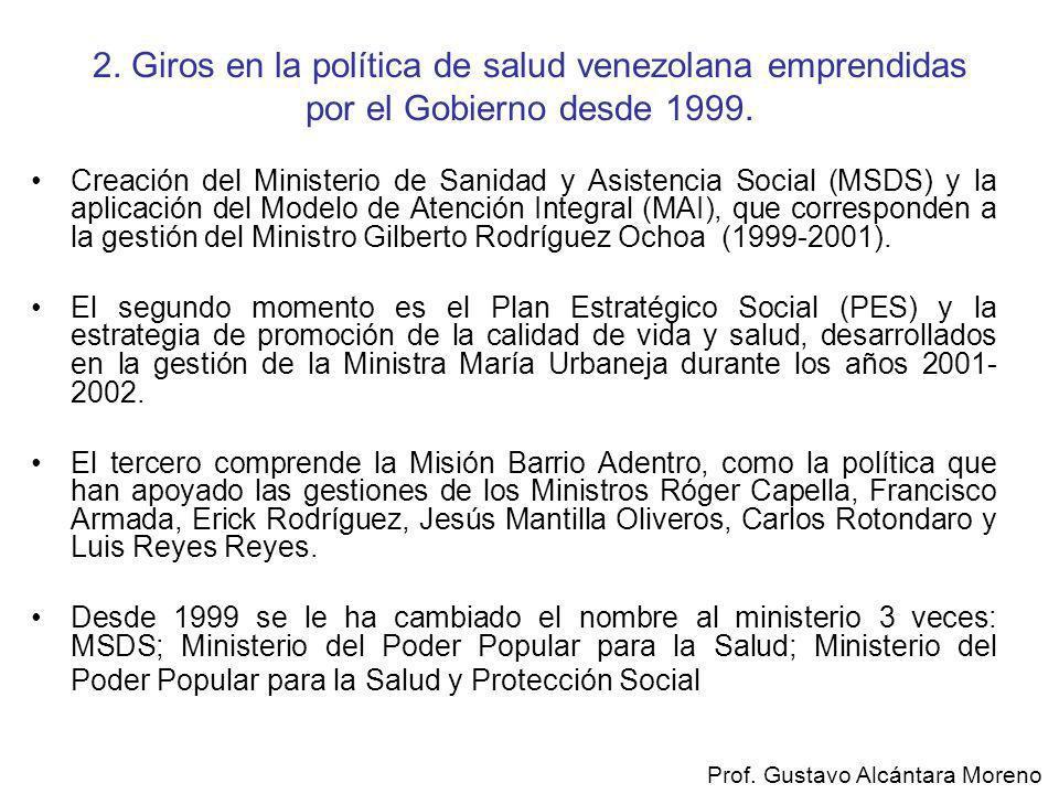 2. Giros en la política de salud venezolana emprendidas por el Gobierno desde 1999.