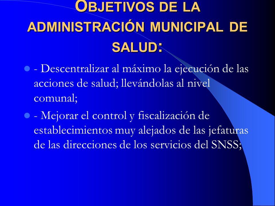 Objetivos de la administración municipal de salud: