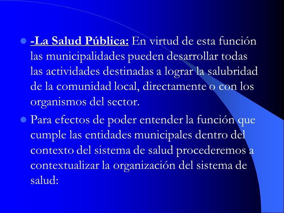 -La Salud Pública: En virtud de esta función las municipalidades pueden desarrollar todas las actividades destinadas a lograr la salubridad de la comunidad local, directamente o con los organismos del sector.