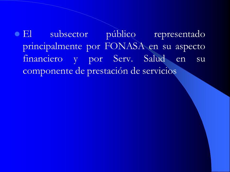 El subsector público representado principalmente por FONASA en su aspecto financiero y por Serv.