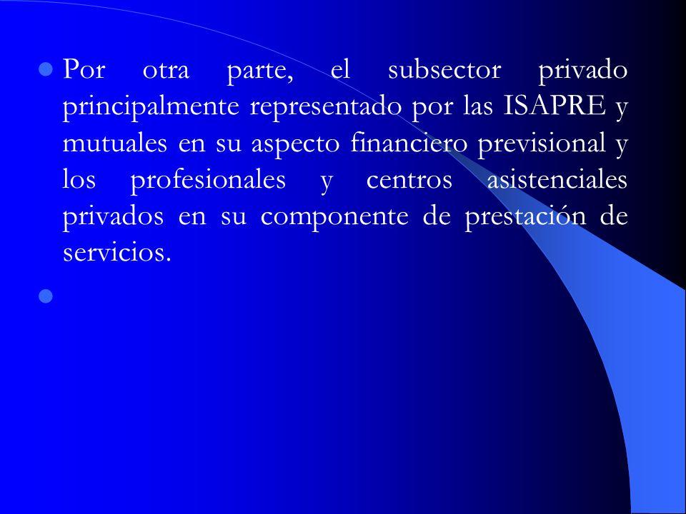Por otra parte, el subsector privado principalmente representado por las ISAPRE y mutuales en su aspecto financiero previsional y los profesionales y centros asistenciales privados en su componente de prestación de servicios.