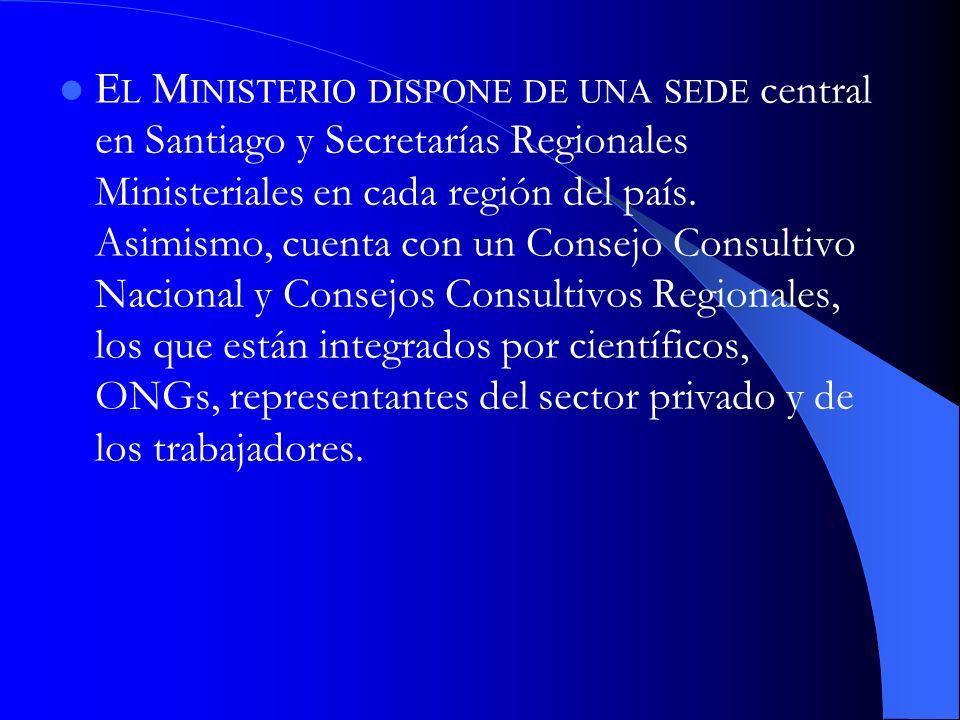 El Ministerio dispone de una sede central en Santiago y Secretarías Regionales Ministeriales en cada región del país.
