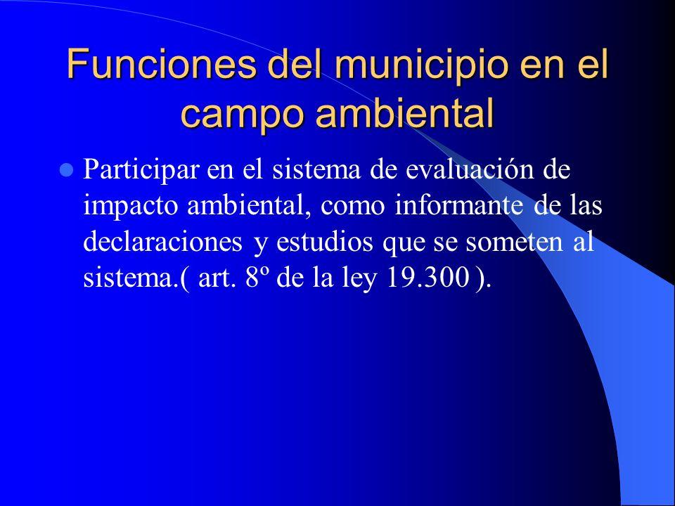 Funciones del municipio en el campo ambiental
