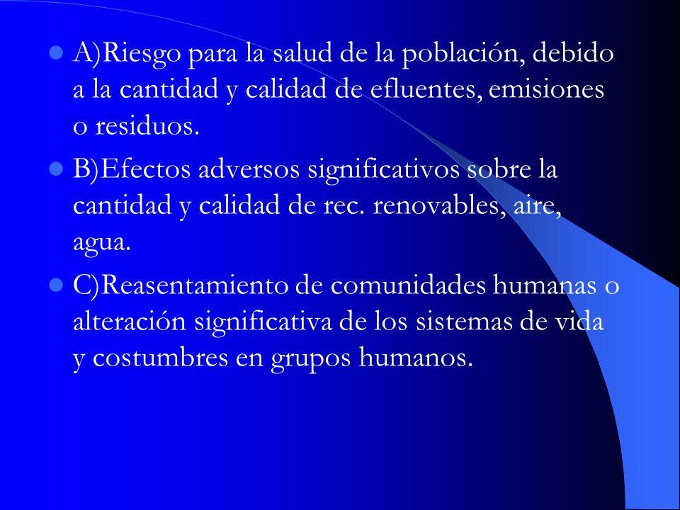 A)Riesgo para la salud de la población, debido a la cantidad y calidad de efluentes, emisiones o residuos.