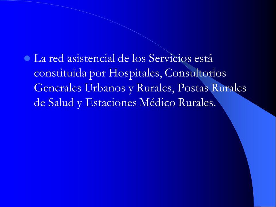 La red asistencial de los Servicios está constituida por Hospitales, Consultorios Generales Urbanos y Rurales, Postas Rurales de Salud y Estaciones Médico Rurales.