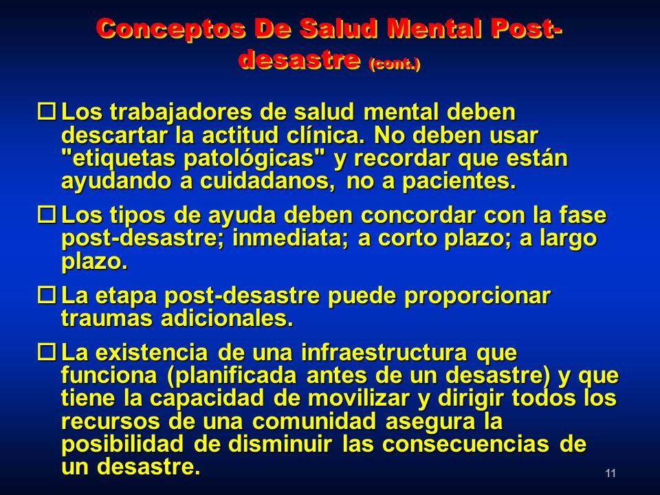 Conceptos De Salud Mental Post-desastre (cont.)