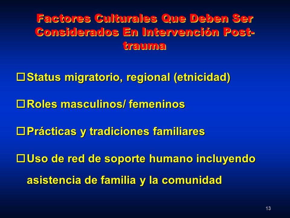Factores Culturales Que Deben Ser Considerados En Intervención Post-trauma