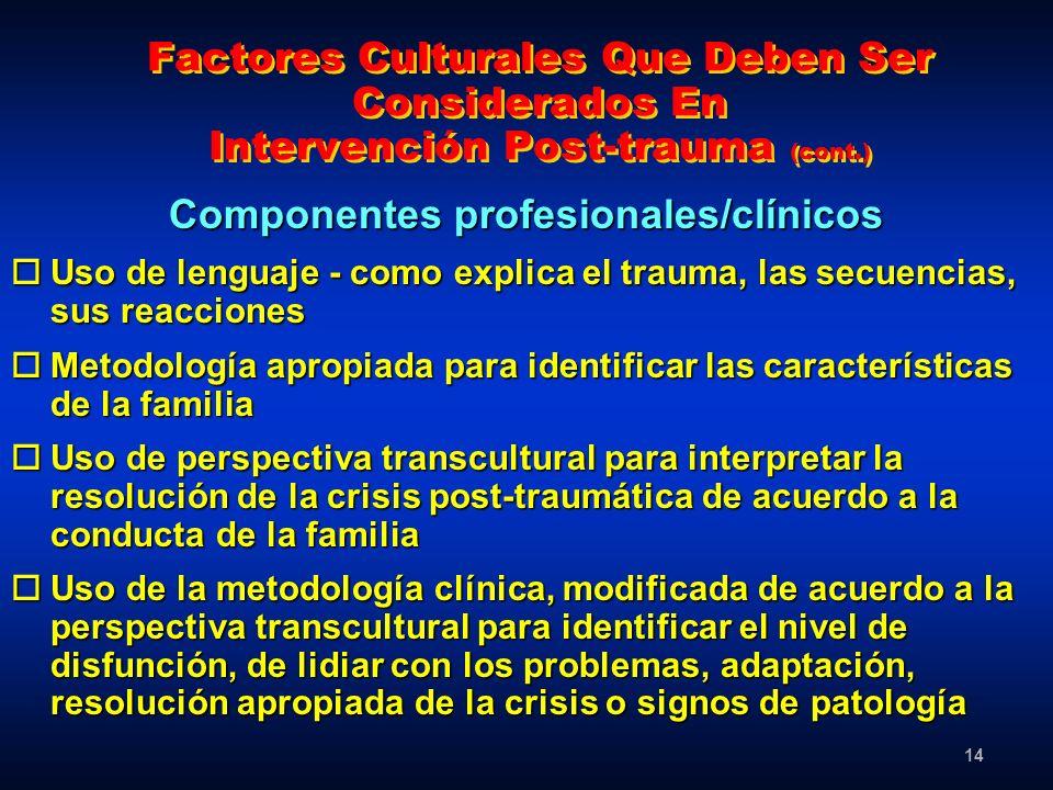 Componentes profesionales/clínicos