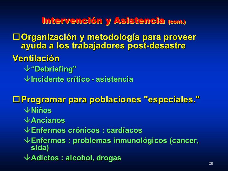 Intervención y Asistencia (cont.)