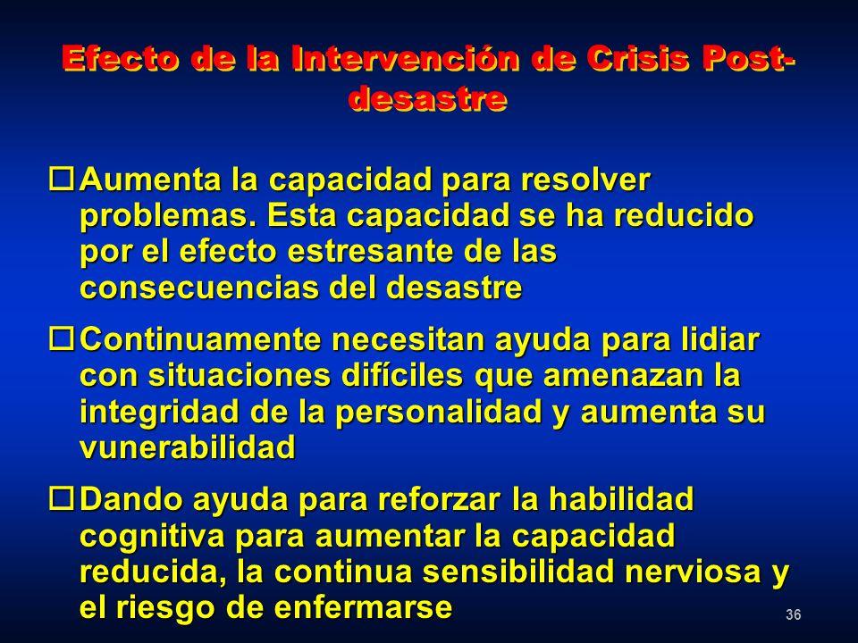 Efecto de la Intervención de Crisis Post-desastre