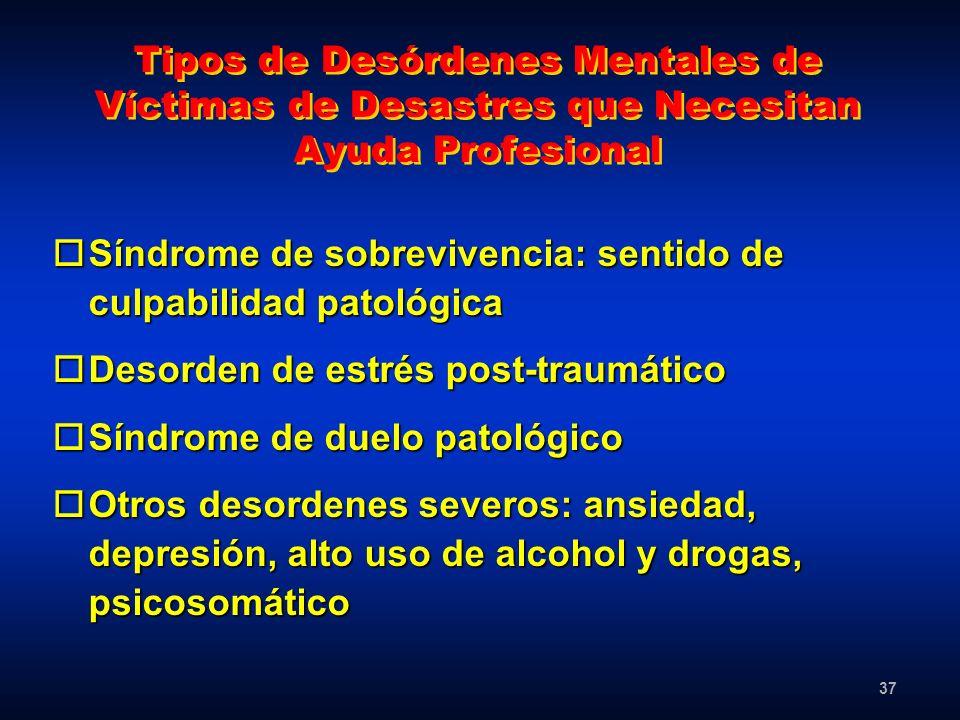 Tipos de Desórdenes Mentales de Víctimas de Desastres que Necesitan Ayuda Profesional
