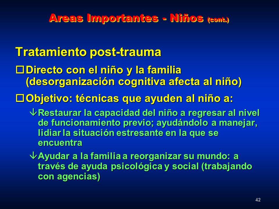 Areas Importantes - Niños (cont.)