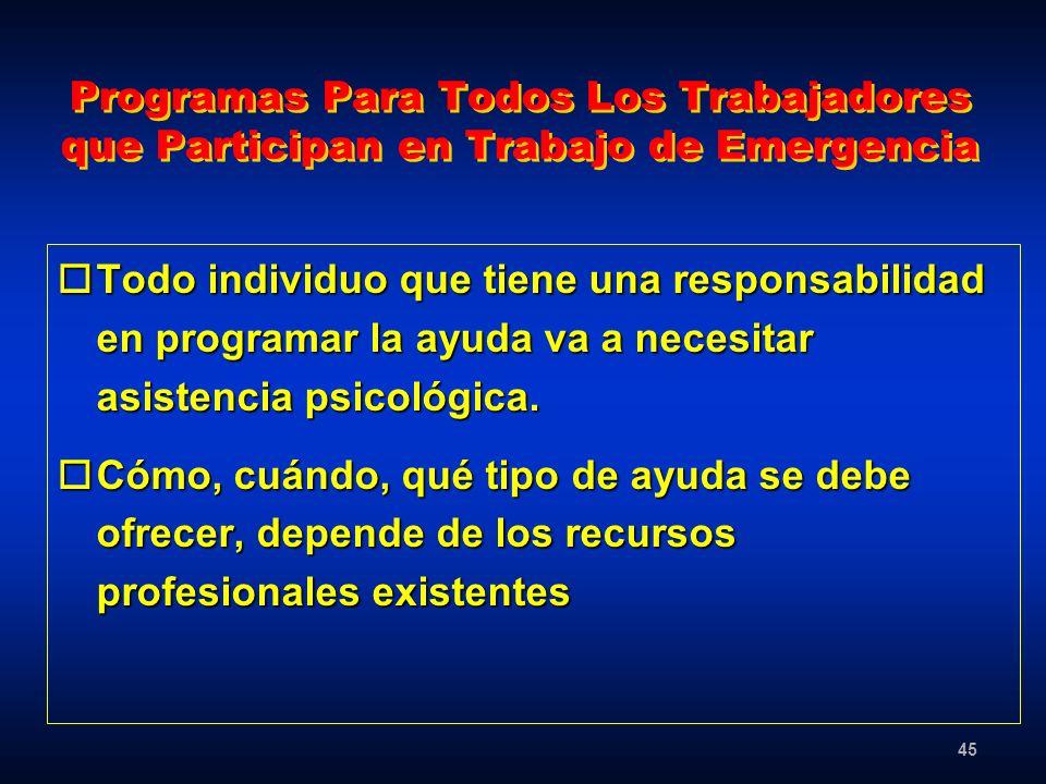 Programas Para Todos Los Trabajadores que Participan en Trabajo de Emergencia