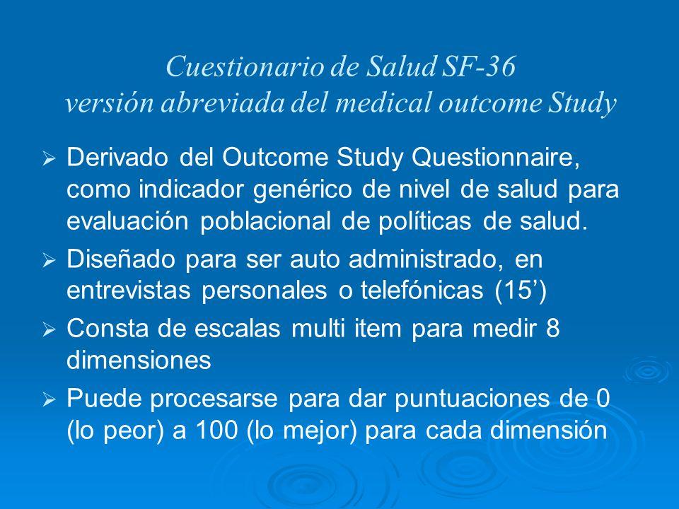 Cuestionario de Salud SF-36 versión abreviada del medical outcome Study