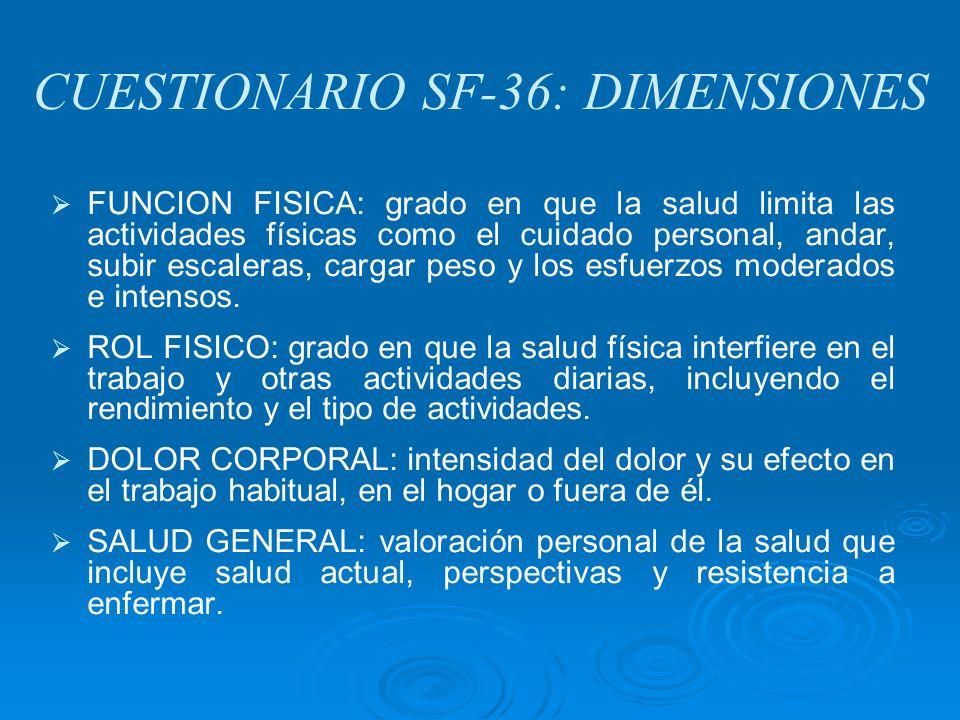 CUESTIONARIO SF-36: DIMENSIONES