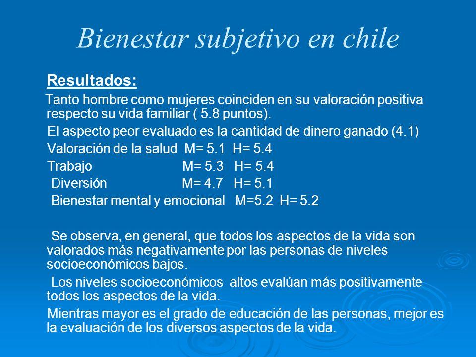 Bienestar subjetivo en chile