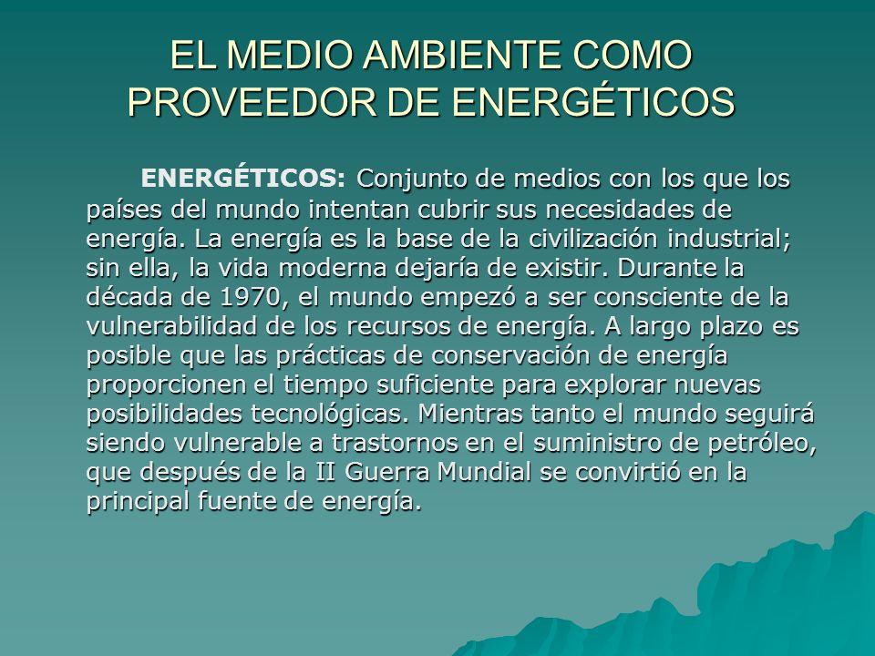 EL MEDIO AMBIENTE COMO PROVEEDOR DE ENERGÉTICOS