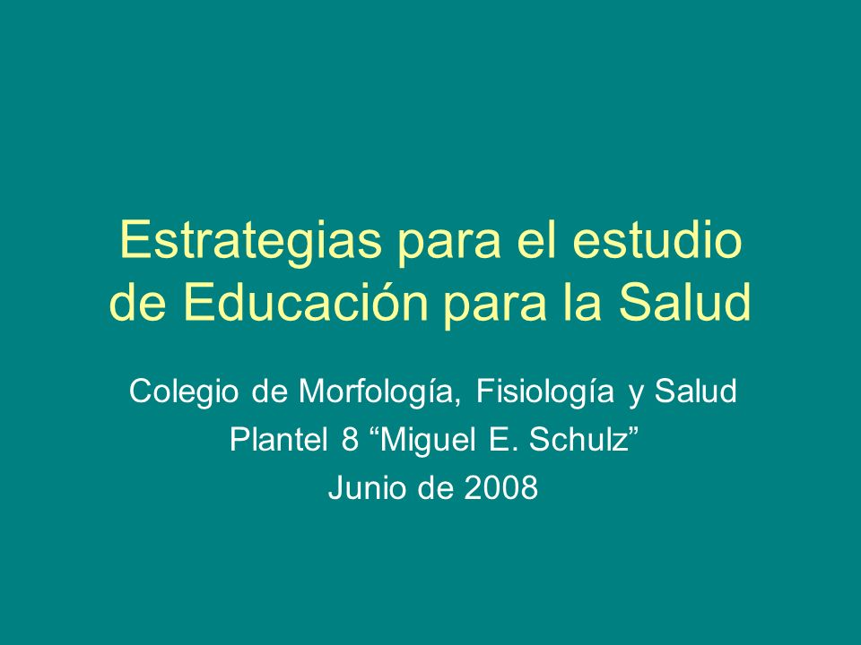 Estrategias para el estudio de Educación para la Salud