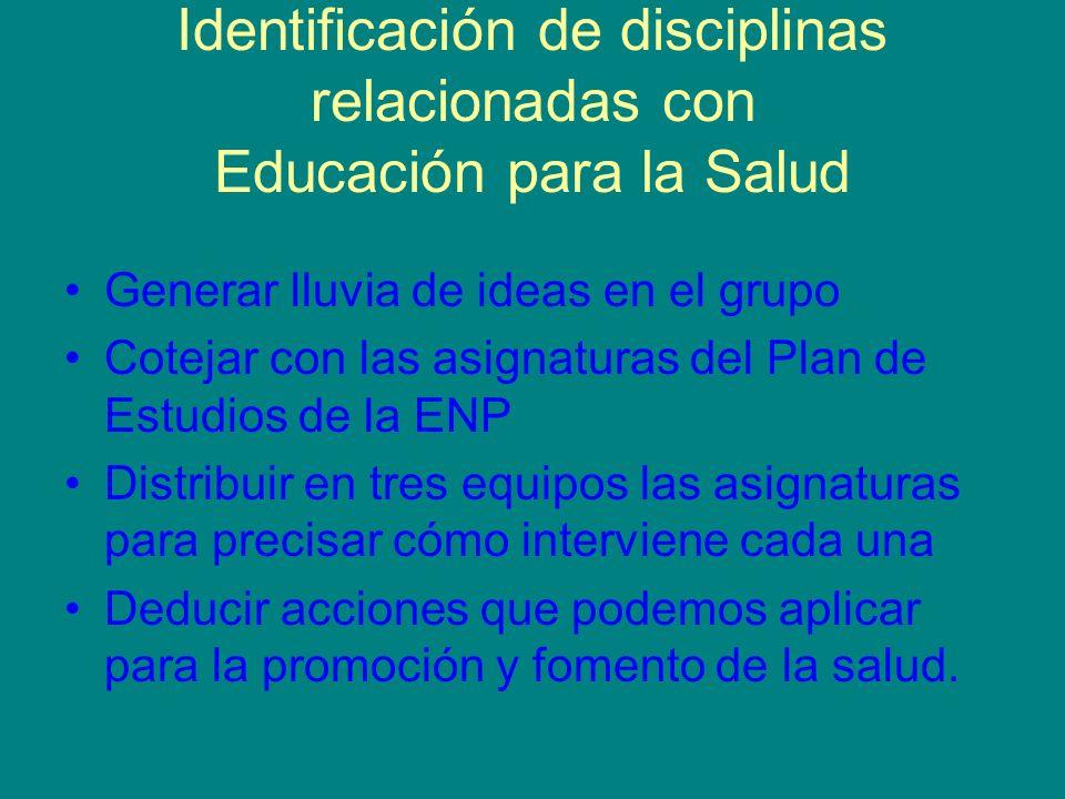 Identificación de disciplinas relacionadas con Educación para la Salud