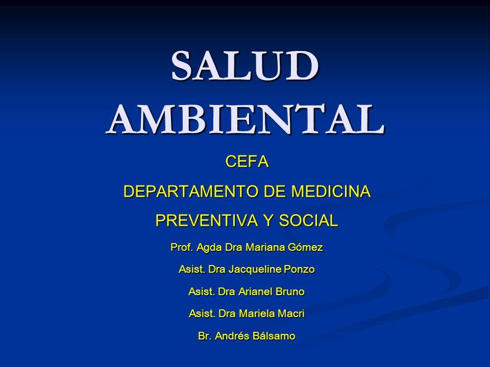 SALUD AMBIENTAL CEFA DEPARTAMENTO DE MEDICINA PREVENTIVA Y SOCIAL